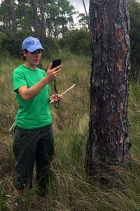 Photo: Jill Trepanier conducting research in the field.